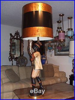 Venitian Plaster Blackamoor Nubian Figure Table Lamp, overall 54 Tall