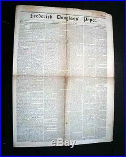 Very Rare 1852 FREDERICK DOUGLASS NEWSPAPER North Star Slavery Slaves Abolition