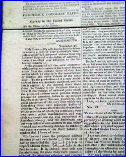 Very Rare 1853 FREDERICK DOUGLASS NEWSPAPER North Star Slavery Slaves Abolition