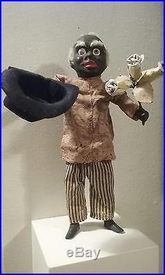 Very Rare Antique 10 Black Man Mechanical Squeak Toy