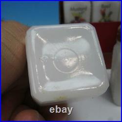 Very Rare Meyercord Decal Black Americana 8 Milk Glass Shaker Spice Set & Rack