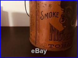 Vintage 1800s N-hair tobacco tin-pre Biggerhair-antique-Black Americana