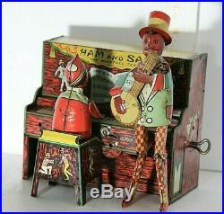 Vintage 1921 Strauss Ham & Sam Minstrel Team Tin Wind-Up Toy Black Americana