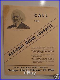 Vintage 1936 National Negro Congress Chicago Frederick Douglass John P. Davis