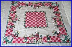 Vintage 1940's Historical Black Americana Sambo Print Tablecloth