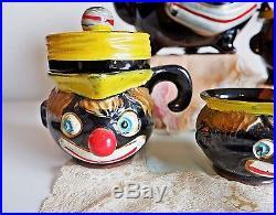 Vintage 1940´s Thames Redware Clown 5 Piece set Teapot Pottery