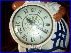 Vintage 1950s Black Americana Red Wing Kitchen Wall Clock Sessions Works Great
