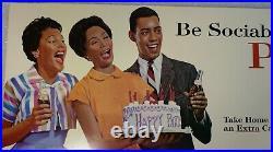 Vintage 1960's Pepsi Cola Bus Transit Poster Black Americana Be Sociable