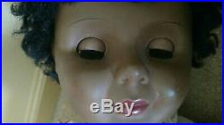 Vintage 35 Unmarked Black African American Toddler Doll Playpal style