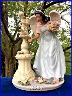 Vintage African American Folk Art SNOW WHITE Angel Cherub Lladro Porcelain
