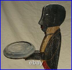 Vintage Americana Black Man Butler/waiter Ashtray Stand Wood Nice