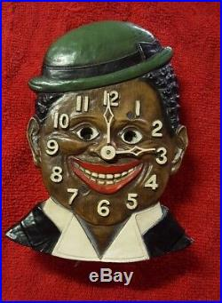 Vintage Animated Novelty Clock Dixie Boy Black Americana