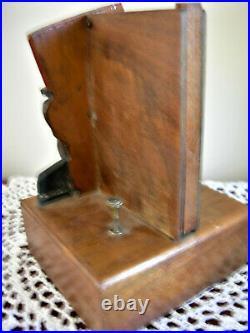 Vintage Anri Black Americana Wood Mechanical Cigarette Dispenser Tobacciana