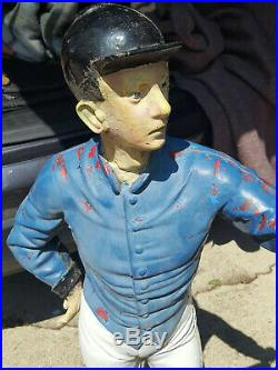 Vintage Antique Cast Iron Lawn Jockey with Lantern on Cast Iron Stand 49