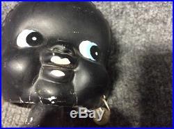 Vintage Antique Original Chalkware Black Americana Bobble Head Girl Bank