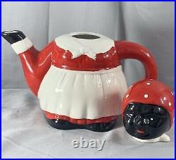 Vintage Auntie Jemima Teapot F & F Americana Collectible Ceramic Red White Black