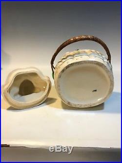 Vintage BLACK AMERICANA MAMMY Aunt Jemima COOKIE JAR-BISCUIT JAR Woven Handle