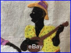 Vintage BLACK AMERICANA Slave Cotton Pickers Textile Embroidery Collage Picture