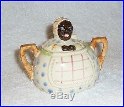 Vintage Black Americana 1940s Mammy Polka Dot Plaid Covered Sugar Bowl Jar JAPAN