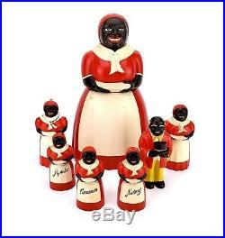 Vintage Black Americana Aunt Jem Uncle Mose Cookie Jar Salt Pepper Syrup Spices