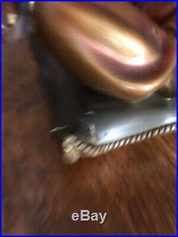 Vintage Black Americana Blackamoor Gennie Lamps With Original Gold Silk Shades