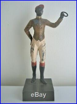 Vintage Black Americana Cast Aluminum Lawn Jockey Figurine Bank/door Stop