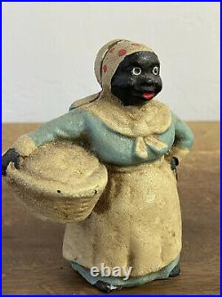Vintage Black Americana Cast Iron Bank-Woman Doing Laundry