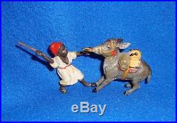 Vintage Black Americana Cast Iron Figure Man with Donkey/Mule Rare