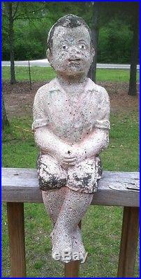 Vintage Black Americana Concrete Statue Little Boy Fishing