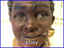 Vintage Black Americana Figural Man's Head Tobacco Humidor Jar