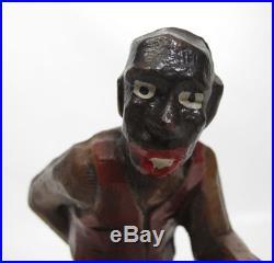 Vintage Black Americana Figural Painted Wood Carving Pappy Folk Art Souvenir yqz