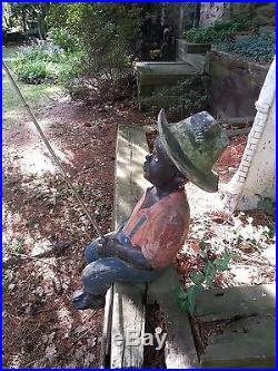 Vintage Black Americana Fishing Boy with Pole