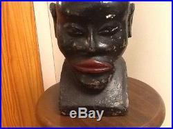 Vintage Black Americana/Folk Art Carved Head/ Bust Lamp