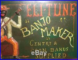 Vintage Black Americana Folk Art Music Banjo Advertising Sign Guitar Rare