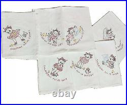 Vintage Black Americana Hand Embroidered Dish Towels Days Of The Week Set Of 7