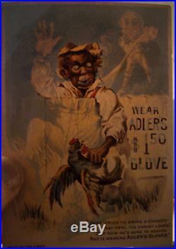 Vintage Black Americana Hold to Light Advertising Trade Card Adler's Gloves RARE
