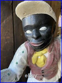 Vintage Black Americana Lawn Jockey Yard Statue Light Hitching Post Concrete