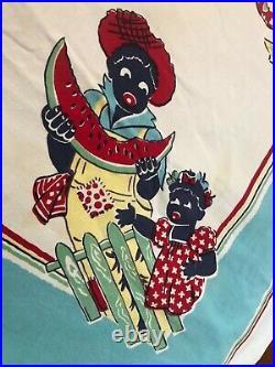 Vintage Black Americana Mama, Child, Watermelon Table Cloth 52' x 48Border