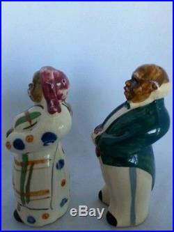 Vintage Black Americana Mammy Butler Aunt Jemima Salt Pepper Shakers Plaid Skirt