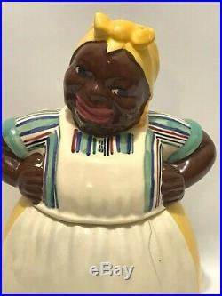 Vintage Black Americana Mammy Maid Cookie Jar Brayton Laguna Yellow 1943 Pottery