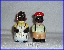 Vintage Black Americana Mammy Man Mose Turtlenecks Salt and Pepper Shakers