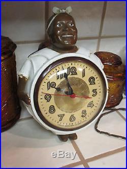 Vintage Black Americana Mammy Plug in Electric Wall Clock