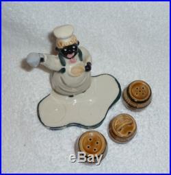 Vintage Black Americana Man Cook Chef Condiment Set Salt Pepper Mustard JAPAN