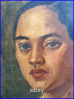 Vintage Black Americana Oil Painting Portrait Lovely Black Woman 1940s