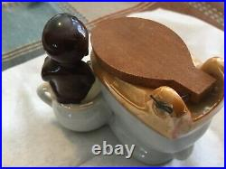 Vintage Black Americana Toilet Ashtray Matches Ciggarette Holder Japan Porcelain