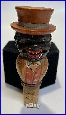 Vintage Black Americana Wood Carved Bottle Stopper White Face Hidden Under Hat