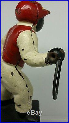 Vintage Black Cast Iron Lawn Jockey Footman Door Stop