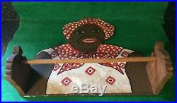 Vintage Black Memorabilia Mammy Wooden Paper Towel Holder Kitchenware