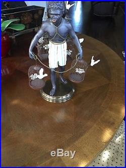 Vintage Blackamoor Petite Choses Nubian 14 Metal Statue withBaskets Brass Base