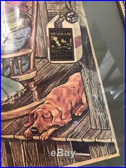 Vintage Bull Durham Smoking Tobacco Framed Poster Black Americana